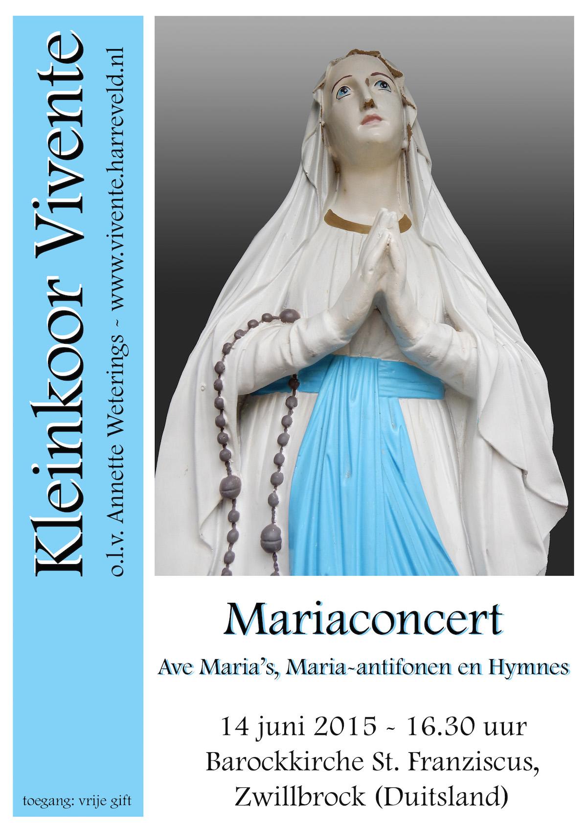 Poster Mariaconcert 14-06-15 Kleinkoor Vivente LR